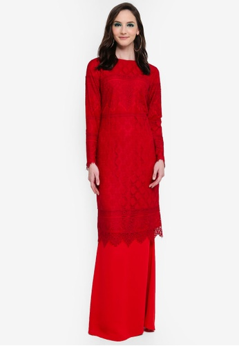 Belle Lace Kurung from Syaiful Baharim in Red