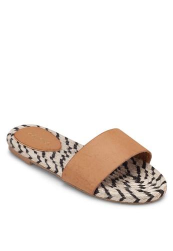 麻編一字帶平底涼鞋, 女zalora鞋鞋, 涼鞋