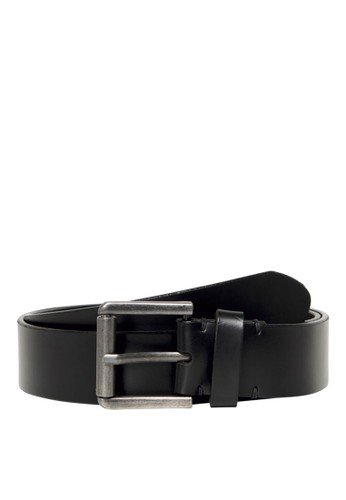 Only & Sons black Carm Stitch Leather Belt BE5FCACD06C0C1GS_1