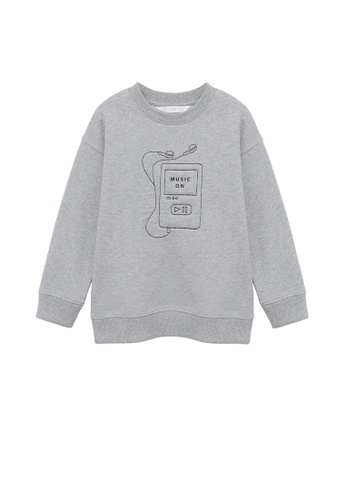 MANGO KIDS grey Embroidered Detail Organic Cotton Sweatshirt 6493FKA8FB6FC9GS_1
