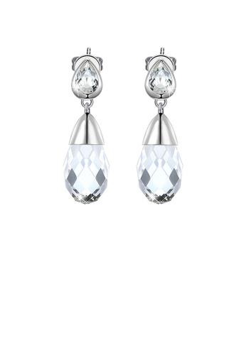 Glamorousky white 925 Sterling Silver Elegant Fashion Simple Water Drop Shape Austrian Element Crystal Earrings FB838AC895A6AFGS_1