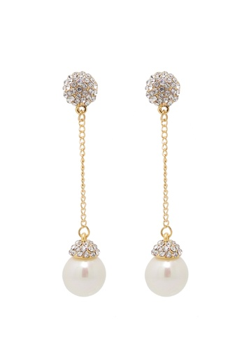 Jaysa Collection gold Exquisite Pearl Dangle Earrings With Crystals Stud JA875AC0GI01SG_1