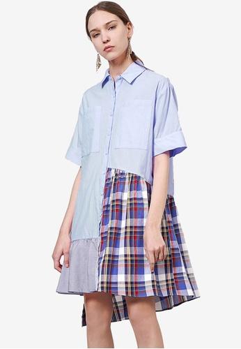 Saturday Club 藍色 Contrast Asymmetric 襯衫洋裝 A5EC3AA9D06329GS_1