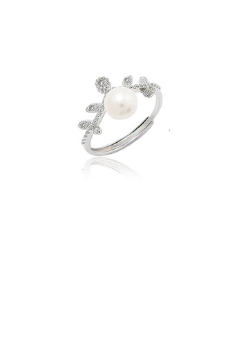 Glamorousky white 925 Sterling Silver Fashion Simple Leaf Freshwater Pearl Adjustable Ring with Cubic Zirconia 96E00AC7490292GS_1