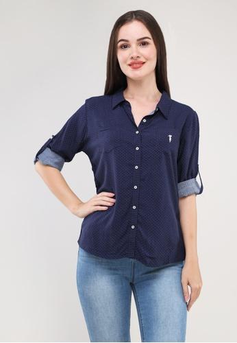 "Bossini Ladies blue Woven Printed Rayon 3/4"" Sleeves Polo 4BF0AAAFDAB00CGS_1"