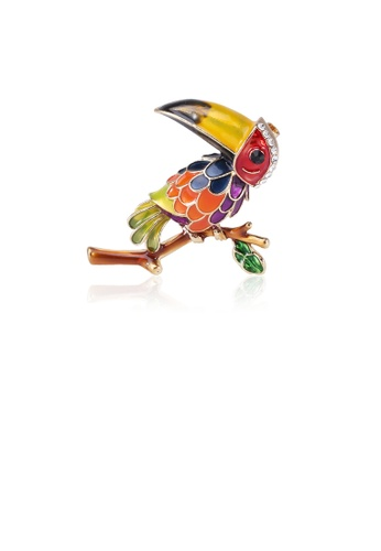 Glamorousky white Fashion Cute Colorful Parrot Brooch with Cubic Zirconia 606EAAC12D0149GS_1