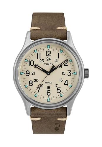 TIMEX brown and silver Timex MK1 40mm - Silver-Tone Case, Brown Strap (TW2R96800) C72D0AC862A2ABGS_1