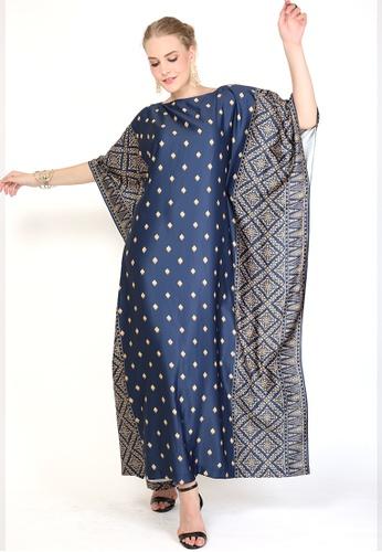 Kanzi by liza yahya blue Kanzi Exclusive Short Sleeve Songket Kaftan DBC73AA47DDF78GS_1