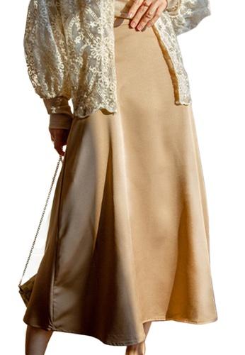 Sunnydaysweety brown French Retro Silk High Waist Midi Skirt A21031922BW B8D4CAA2F7DEADGS_1