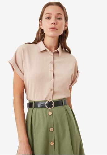 Trendyol beige Basic Rolled Short Sleeve Shirt 179D9AA95DE19CGS_1