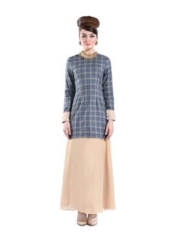 Zinnia Sand Tartan Modern Kurung with Flare Skirt from Hernani in Grey and Brown
