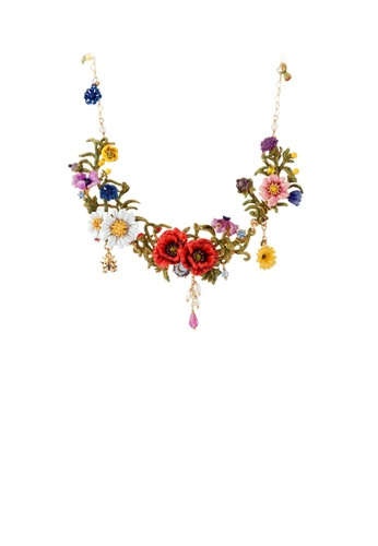 Glamorousky yellow Elegant and Fashion Plated Gold Mona Garden Enamel Flower Necklace with Cubic Zirconia 75BE9AC02354A7GS_1