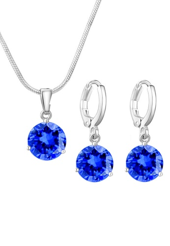 YOUNIQ blue YOUNIQ Elsa Silver Necklace Pendant with Brilliant Cut Cubic Zirconia & Earrings set (Blue) YO999AC0S8U3MY_1