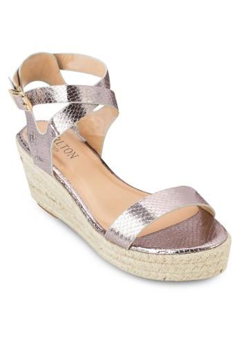 一esprit 西裝字帶厚底涼鞋, 女鞋, 鞋