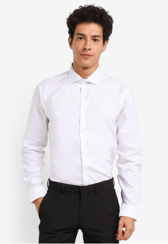 Burton Menswear London white White Tailored Fit Oxford Shirt 58B92AA85211B8GS_1