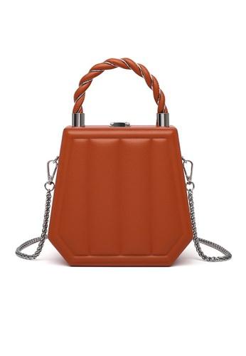 Lara orange Women's Stripes Embossed Hexagon Leather Chain Cross-body Bag - Orange EF886AC90E1177GS_1