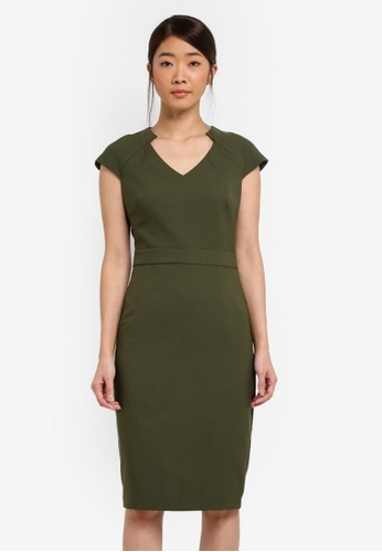 Dorothy Perkins green Khaki V-Neck Pencil Dress A5DDCAAA9D6419GS_1