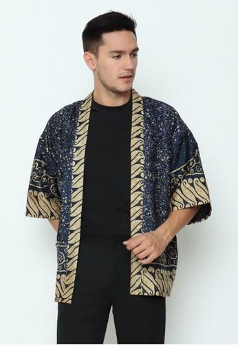 Rinjanie Avon gold and navy Rinjanie Avon - Outer Kimono Batik Navy 88448AAFA43DF2GS_1