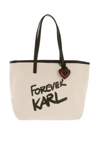 KARL LAGERFELD beige Karl Forever Canvas Shopper 40285ACBC390EFGS_1