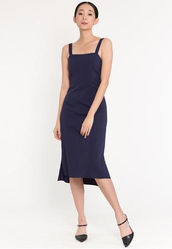 Plain B. blue Plain B. Sleeveless Square Neckline Plain Casual Midi Dinner Dress 2E1B6AA9DCE7E9GS_1