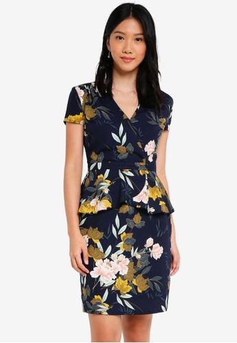 ZALORA navy Short Sleeves Wrap Peplum Dress 74D37AA045B864GS_1