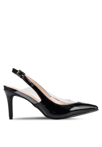 1f46915701 Nose black Vinyl Patent Pointy Toe Slingback Heels BC787SHA78F693GS_1