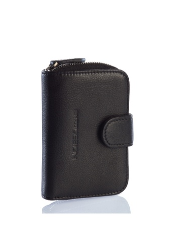 ENZODESIGN black Soft Cow Leather Hand Held Leather Key Case With Zip Around Card Holder EN880AC33HDYHK_1