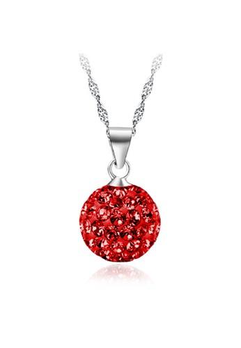 YOUNIQ red YOUNIQ Korean Fashion 925S Silver Swarovski Red Elements Necklace YO999AC74DBDMY_1