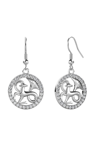 Her Jewellery white Her Jewellery Circlet Hook Capricorn Earrings (White Gold) embellished with Crystals from Swarovski 9C4F5ACC3099FDGS_1