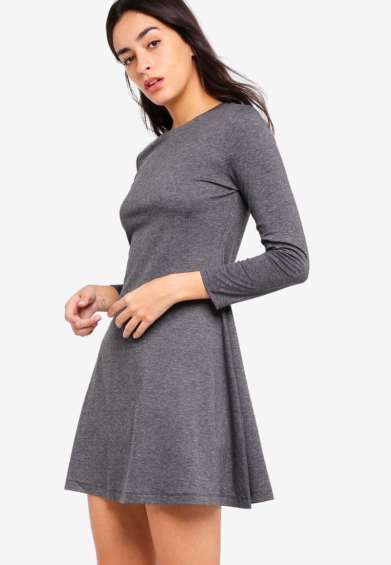 Sleeves Marl Basic ZALORA Dress Grey Long Flare 7xrrq605