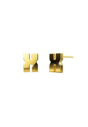 Bullion Gold gold BULLION GOLD Bold Initial Alphabet Letter Earrings Gold Layered Steel Jewellery- X 13688AC11502E7GS_1