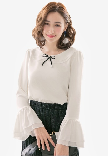 YOCO white Ruffle Sleeve Blouse 371BDAA3178849GS_1