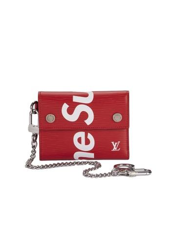 Louis Vuitton red Louis Vuitton Red Supreme Chain Wallet 01D66AC665F118GS_1