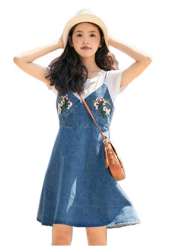 Sunnydaysweety blue 2017 S/S New Light Blue Denim Floral Brace Mini Dress UA061408DGBL SU219AA90DENSG_1
