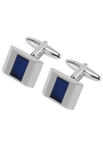 CUFF IT blue Silver Transparent Blue Enamel Cufflinks CU047AC52HXFHK_1