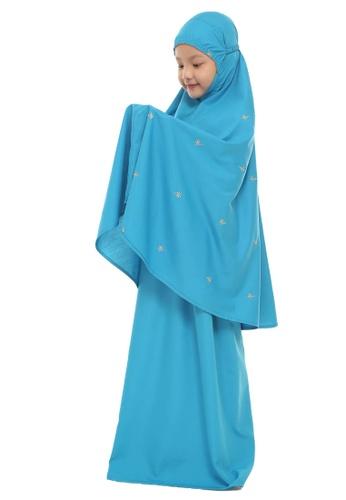 SITI KHADIJAH blue Siti Khadijah Telekung Broderie Cilik Tuberose in Turqoise 71E8DAAD8E9E39GS_1