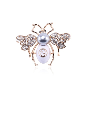 Glamorousky black Fashion and Lovely Plated Gold Bee Imitation Pearl Brooch with Cubic Zirconia D6896ACC8E1E4DGS_1