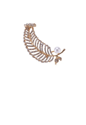 Glamorousky white Fashion and Elegant Plated Gold Leaf Imitation Pearl Brooch with Cubic Zirconia 61D92AC532E070GS_1