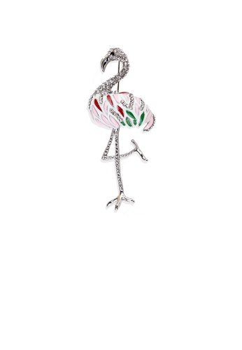 Glamorousky white Fashion Bright Flamingo Brooch with Cubic Zirconia B16C3ACF94812EGS_1