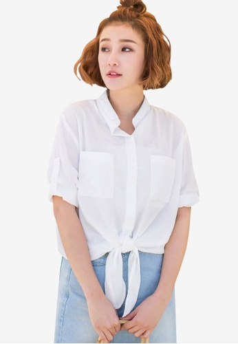 57b3c38028b623 Shop Tokichoi Tie Knot Front Pocket Shirt Online on ZALORA Philippines
