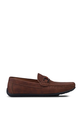 Louis Cuppers brown Faux Leather Buckle Loafers BCA13SH979AA01GS_1
