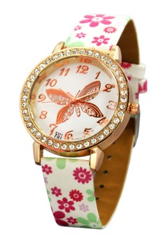 FHL Golden Butterfly Women's Floral Leather Strap Watch 2282