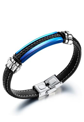 Trendyshop black Men's Leather Bracelet 54E69AC99F6B42GS_1