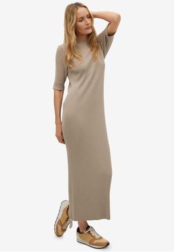 Mango grey Ribbed Jersey Dress 0D526AA6057472GS_1