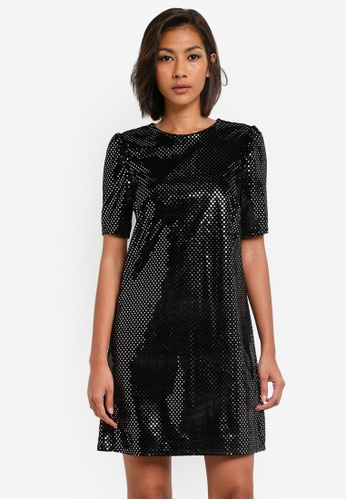 Dorothy Perkins black Petite Black Silver Polka Dot Puff Sleeve Shift Dress DO816AA0SB68MY_1
