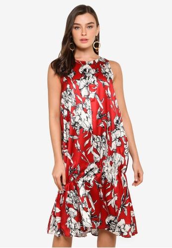 bYSI red Structured Print Dress 907C4AA0DA1EADGS_1