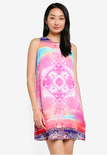 Desigual pink Printed Shift Short Dress B9D5FAAF8BD7F0GS_1