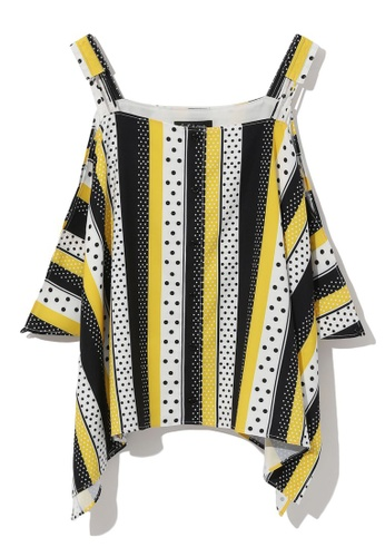 tout à coup yellow Striped and dotted top F076EAAF5F9F29GS_1