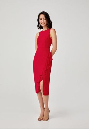 Love, Bonito red Meiko Ruffle Hem Bodycon Dress EC2AFAA6509227GS_1