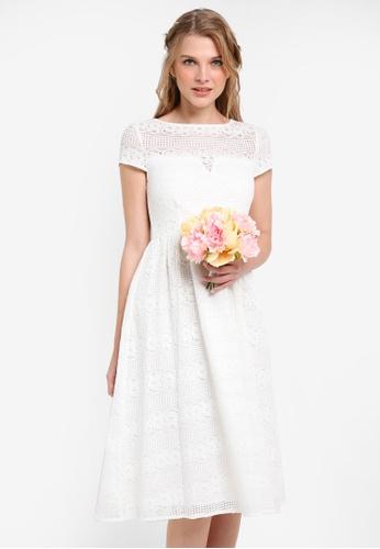 ZALORA white Bridesmaid Short Sleeve Lace Midi Fit & Flare Dress 4809BAA7654B8EGS_1